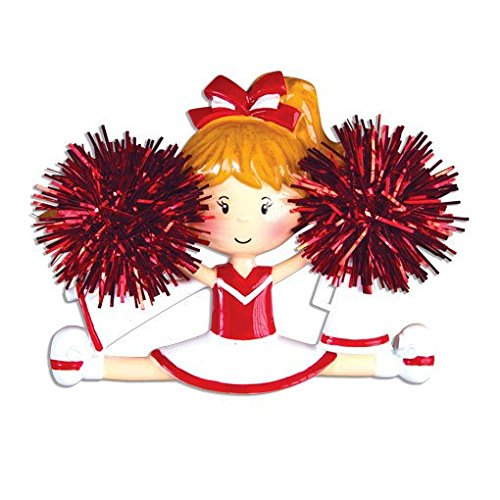 Cheerleader Red Personalized Christmas Tree Ornament
