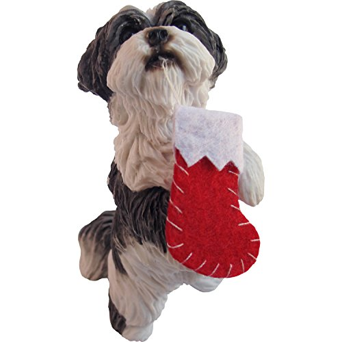 Sandicast Christmas Holiday Ornament – Shih Tzi Silver and White with Stocking in Mouth (XSO16408)