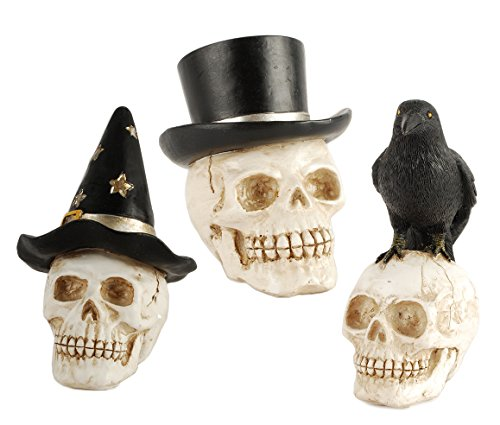 Witch Crow and Top Hat Skulls 3 x 2 inch Resin Stone Figurines Set of 3