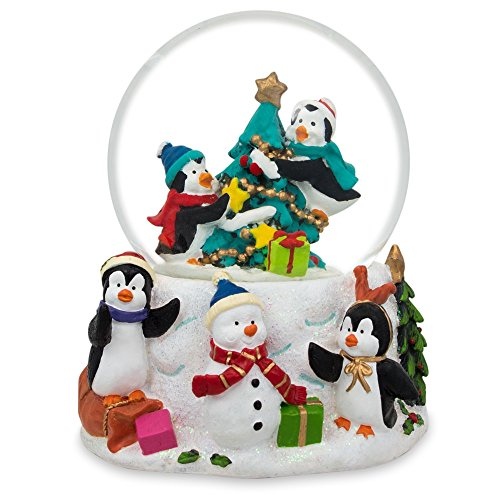 3.5″ Penguins Decorating Christmas Tree with Ornaments Snow Globe