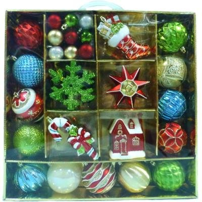 Martha Stewart Living (51pcs) Alpine Holiday Ornaments, Containing a mix of shiny, matte and glitter colorful designs in Shatter-resistant composition