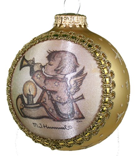 Krebs Glass Ball with Hummel Silk Picture Ornament (H435 Angel With Horn)