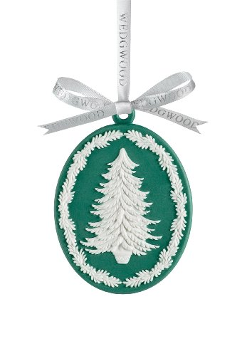 Wedgwood Tree Cameo, Christmas Ornament, Green