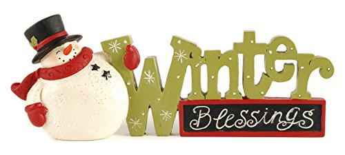 Winter Blessings Snowman 4 x 8 inch Christmas Table Top Figurine