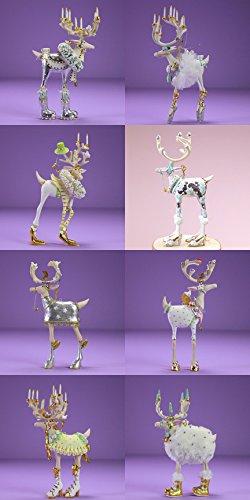 Patience Brewster Set of 8 Mini Moonbeam Dashway Reindeer Ornaments