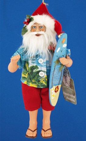 Santa's Workshop Surfer Santa Christmas Ornament
