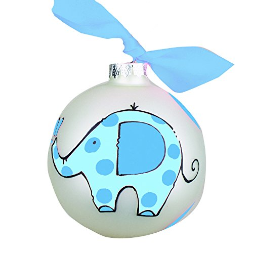 Glory Haus Baby's First Blue Elephant Glass Ornament, 4″