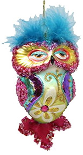 December Diamonds Blown Glass Ornament Owl with Red Tail