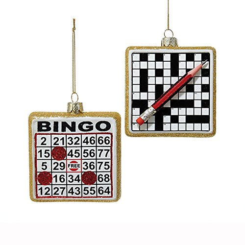 Kurt Adler 2 Assorted Glass Noble Gems Bingo Board And Crossword Puzzle Christmas Ornaments