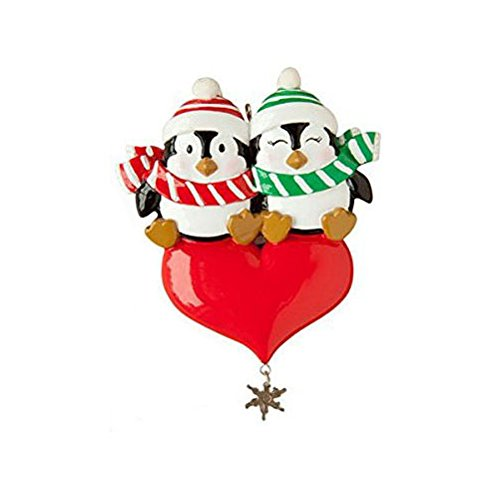 Penguin Couple with Heart Personalized Ornament