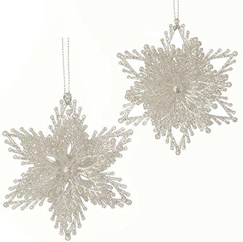 RAZ Imports – Enchanted Whimsy – 4″ Glittered Snowflake Christmas Tree Ornament – Set of 2