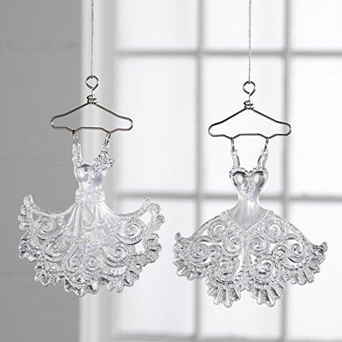 Christmas Glittered Dress Ornament – Set of 2