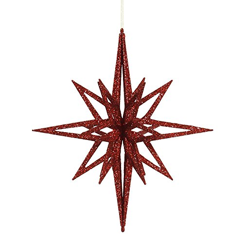 Vickerman Glittered 3-D Star Shaped Christmas Ornament, 16″, Red
