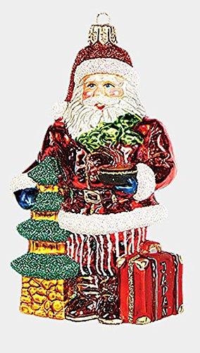 Japanese Travel Santa Polish Mouth Blown Glass Christmas Ornament Decoration