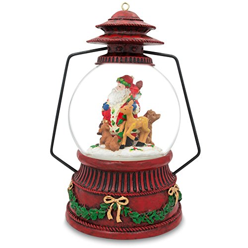 7.5″ Santa Claus, Reindeer, and Animals Lantern Musical Snow Globe
