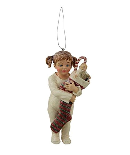 Bethany Lowe Night Before Christmas Little Girl Holding Stocking Ornament