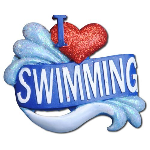 I Love Swimming Personalized Ornament