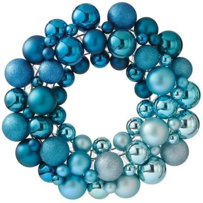 Christmas Ornament 16 in. Dia Artificial Christmas Wreath in Blue
