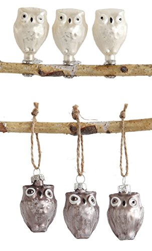 Set of 6 Glass Owl Ornaments and Clips in Gift Box