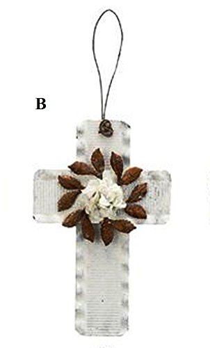 Creative Co-Op Country Christmas Collection Tin Cross Ornament With Flower, Choice of Style (B)