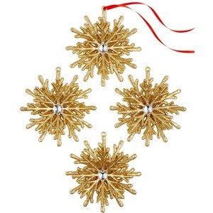 Holiday Lane Set of 4 Glitter Snowflake Ornaments