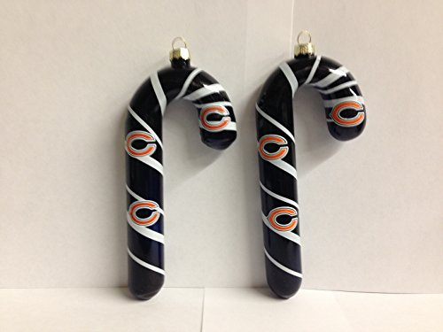 NFL Chicago Bears Blown Glass Black Candy Cane Ornament Set