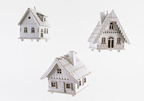 180 Degrees White Winter Christmas Village Alpine House Ornaments, Set of 3
