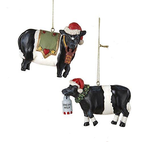 Kurt Adler 3″-3.25″ Resin Cow Ornaments, Set of 2