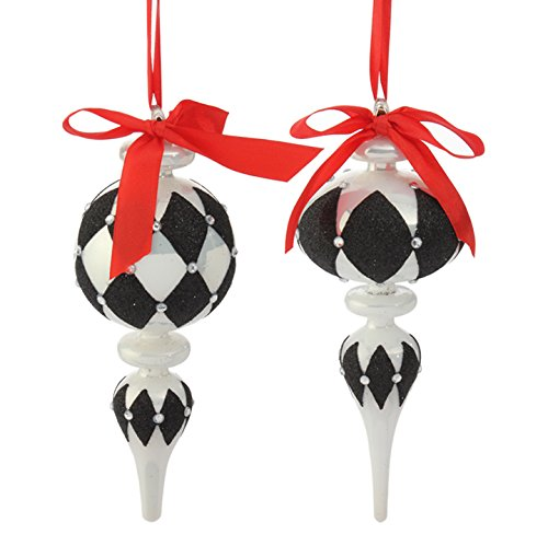 RAZ Imports – Town Square Theme – Black and White Ornaments with Red Satin Ribbon (Set of 2 Finial)