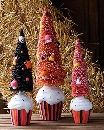 Halloween Sisal Bottle Brush Trees Cupcake Bases Candy Ornaments Set of 3