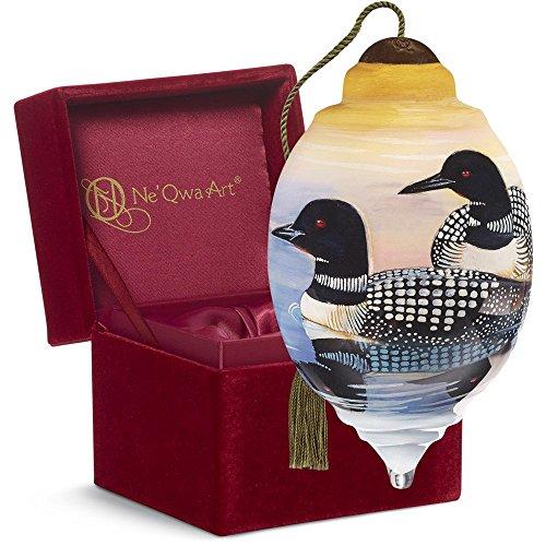 "Ne'Qwa Art, Housewarming Gifts, ""Loons"" Artist Cynthie Fisher, Petite Trillion-Shaped Glass Ornament, #7161146"