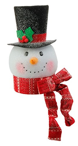 RAZ Imports – Tinsle Tangle – 15″ Snowman Head Ornaments/Decoration/Tree Topper (Red Scarf)
