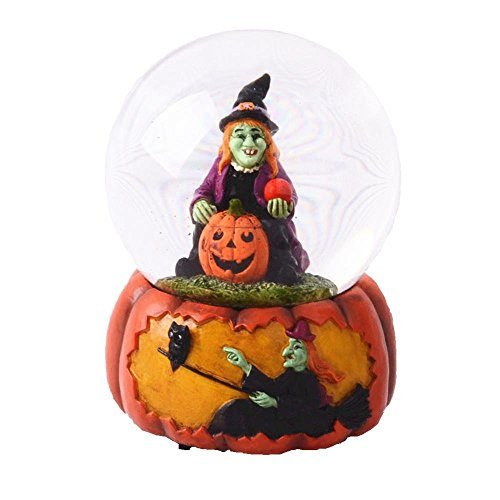 Lightahead 100MM Halloween Water Globe with music playing Water ball Table Top Decoration Gift in Polyresin (Witch on Pumpkin)