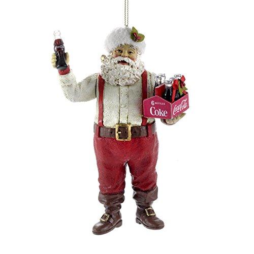 Kurt Adler Santa Holding Coca-Cola Ornament, 5-Inch, 6-Pack