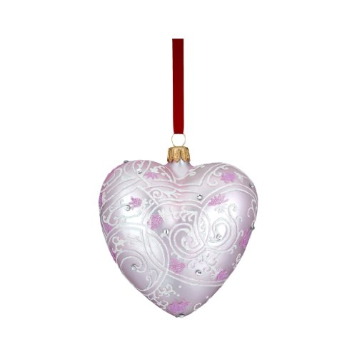Reed & Barton C4027P Pink Lace Heart Ornament, 4-Inch High