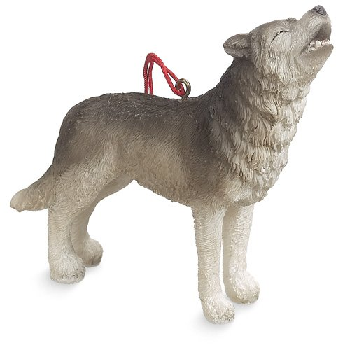 Resin Timber Wolf Christmas Ornament