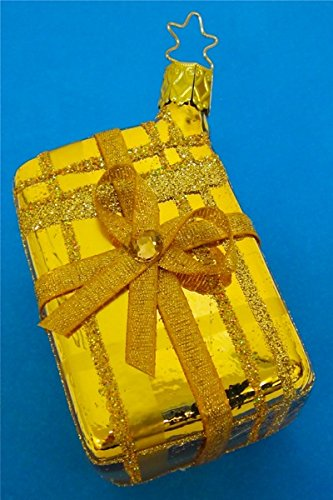 Inge-Glas Gift Box Gold Glass Christmas Ornament Made in Germany