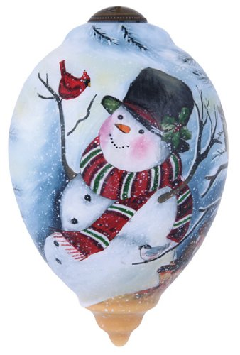 "Ne'Qwa Art, Christmas Gifts, ""Frosty's Woodland Friends"" Artist Susan Winget, Princess-Shaped Glass Ornament, #7141150"