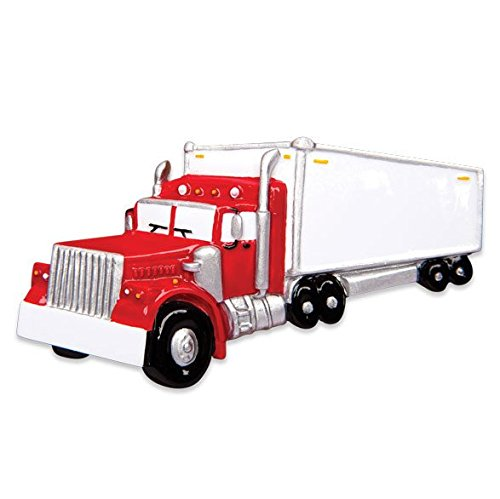 Semi Truck Tractor Trailer Personalized Christmas Tree Ornament