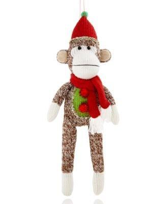 Holiday Lane 12″ Knit Sock Monkey Hanging Ornament