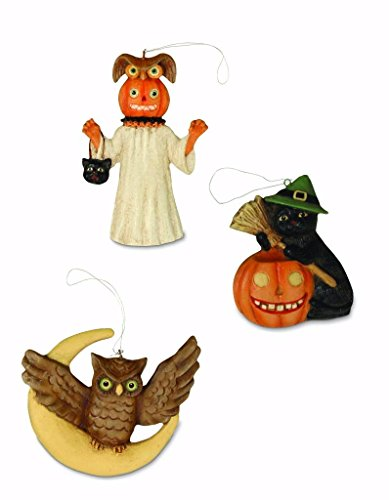 Bethany Lowe Midnight Magic Collection (3) Halloween Ornaments Cat Owl Ghost