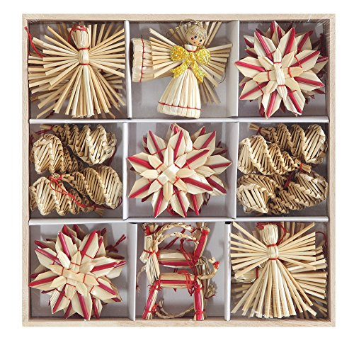Set of 32 Wheat Straw Angel Assorted Christmas Ornaments