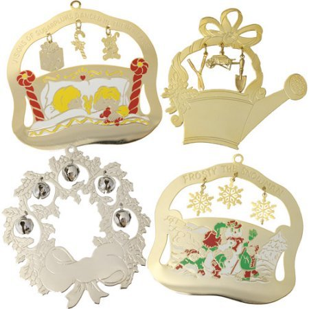 Personalized Gloria Duchin Charming Christmas Ornaments, 12-Piece Set comes in gold-tone or silver-tone finishes