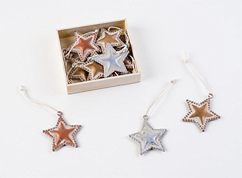 180 Degrees Metal Star Christmas Ornaments, Gold Silver Bronze, Box Set of 12