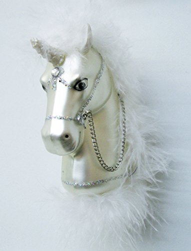 White Unicorn Christmas Ornament with Feather Mane by Mark Roberts