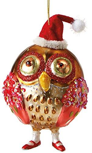 Ho Ho Ho Whimsical Santa Owl Holiday 5 Inch Glass Ornament Midwest CBK