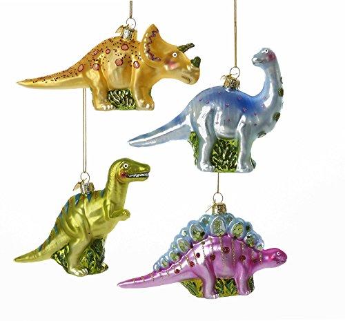 Kurt Adler Noble Gems Dinosaur Glass Ornaments New Set of 4