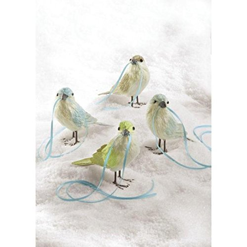 Martha Stewart Living Sisal Birds with Ribbon Trim Ornament (Set of 4)