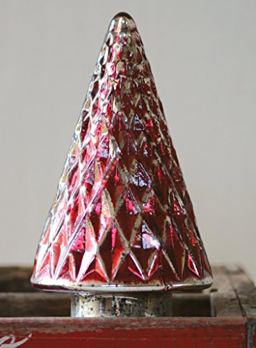 Creative Co-Op Red/Silver Mercury Glass Christmas Tree, 9.5″ Tall