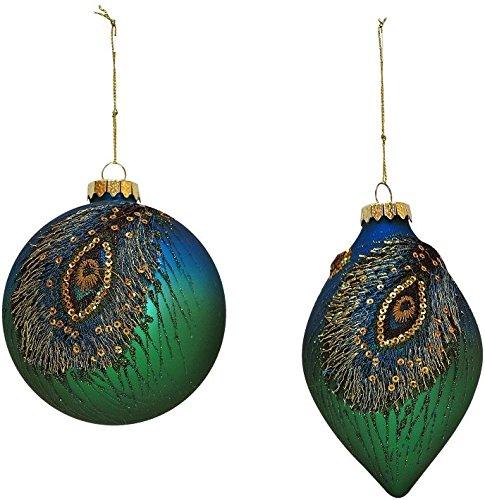 Mark Roberts Peacock Ball and Finial Ornament Pair